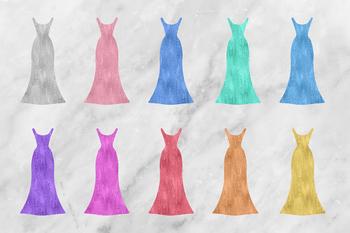 Sparkle Dresses Clipart, Fashion Clipart, Shiny Dresses