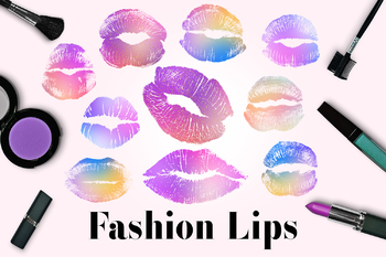Sparkle Lips Clipart, Glamour Lip Images, Lip Marks