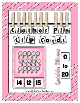 Sparkle Mirrors Counting 0 to 20 clip Cards for preschool & kindergarten