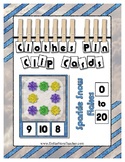 Sparkle Snow Flakes Counting 0 to 20 clip Cards for presch