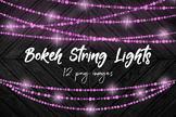 Sparkle String Light Overlays, Bokeh String Lights Clipart, Pink Hanging Lights