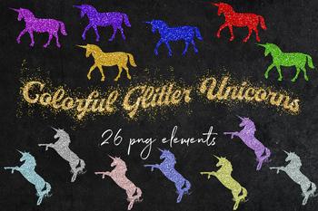 Sparkle Unicorns Clipart, 26 PNG Glitter Unicorns, Glitter Design Elements