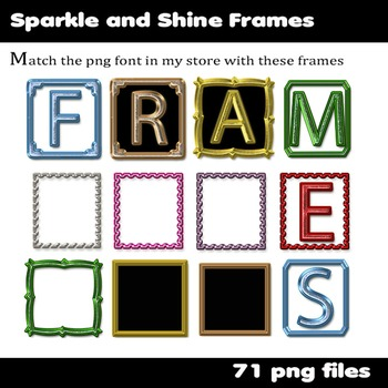Sparkle and Shine Clip Art Frames - Match the font in my store