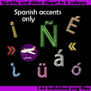 Spanish Accents Clip Art Sparkle and Shine  in 8 colours to match the full set