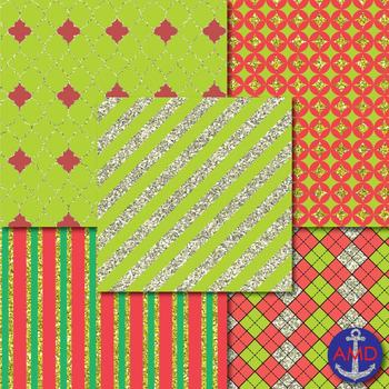 Sparkling Christmas Silver and Gold Glitter Digital Papers Mega Pack