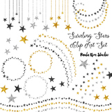 Gold, Silver and Black Glitter Swirling Stars Clip Art Set #1