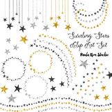 Swirly Glitter Star Clip Art in Gold Silver and Black