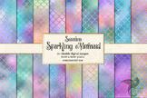 Sparkling Mermaid Scales, pastel rainbow seamless patterns