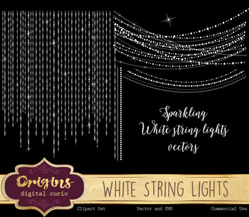 Sparkling white string lights vectors, png overlay clipart clip art fairy lights
