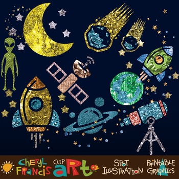 Sparkly Space clip art collection
