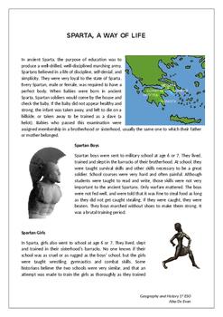 Sparta, a way of life reading comprehension