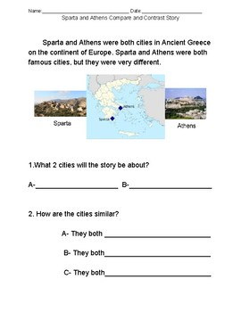 Sparta and Athens Compare/Contrast Story