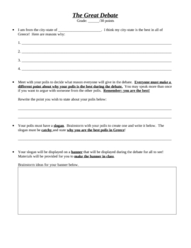 Sparta versus Athens Greek City State Great Debate worksheet project
