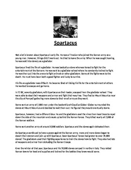 Spartacus Biography Article and Assignment Worksheet