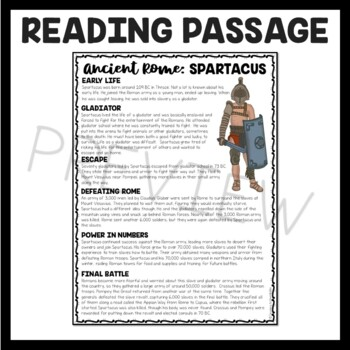 Spartacus Biography Reading Comprehension Worksheet; Ancient Rome