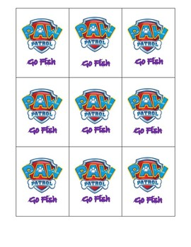 Spatial Concept Go Fish Cards- Paw Patrol