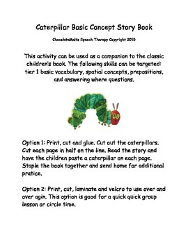 Spatial Concepts Caterpillar Story Book