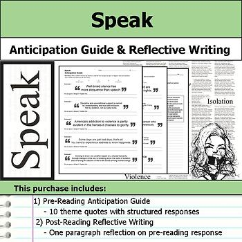 Speak - Anticipation Guide & Written Reflection