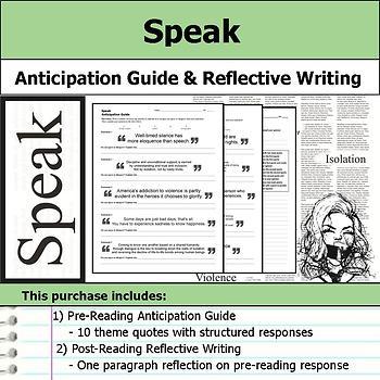 Speak - Anticipation Guide & Written Reflection