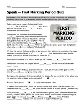 Speak by Laurie Halse Anderson First Marking Period Quiz with Answer Key