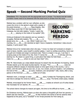 Speak by Laurie Halse Anderson Second Marking Period Quiz with Answer Key