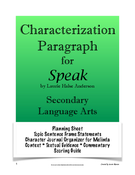 Speak - Characterization Paragraph Assignment; Secondary ELA