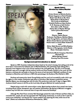 Speak Film (2004) Study Guide Movie Packet