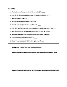 Speak Grading Period 1 & 2 Quiz