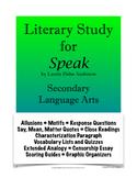 Speak Unit - Literary Novel Study; Speak Novel Unit (Bundle Plus Extras)