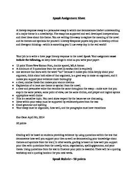 Speak Literary Response Paper Assignment Sheet and Holisti