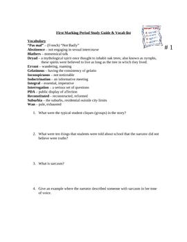 Speak Novel Guide Marking Period 1