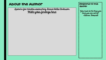 Speak Novel Marking Period 1- Teacher Presentation or Student Workbook