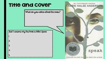 Speak Novel Pre Reading- Teacher Presentation or Student workbook