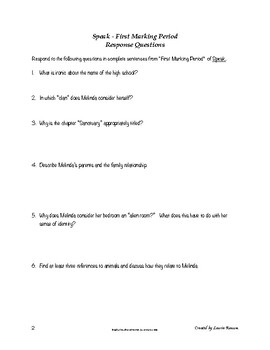 Speak - Response Questions for Writing or Discussion; Secondary ELA