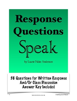 Speak - Response Questions for Writing or Discussion