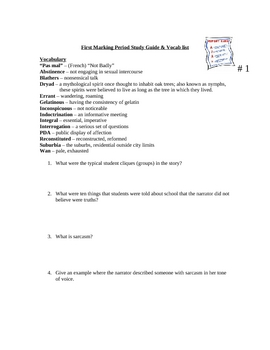Speak Study Guide Marking Period # 1