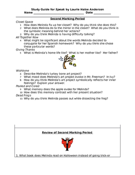 Speak - Study Guide - Marking Period #2