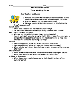 Speak - Study Guide - Marking Period #3
