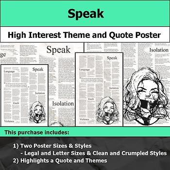 Speak - Visual Theme and Quote Poster for Bulletin Boards