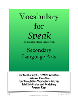 Speak - Vocabulary Lists, Definitions, Quizzes, and Answer Keys; Secondary ELA