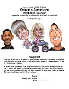 Speak by Laurie Halse Anderson Caricature Activity