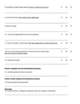 """Speak"" by Laurie Halse Anderson  Figurative Language Worksheets"