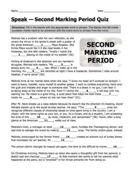 SPEAK Laurie Halse Anderson Complete Novel Quizzes — Four Quizzes with Answers