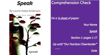 Speak by Laurie Halse Anderson - Organic Reading Unit