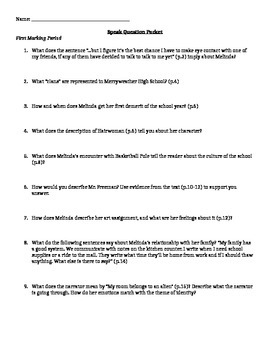 Speak by Laurie Halse Anderson Question Packet