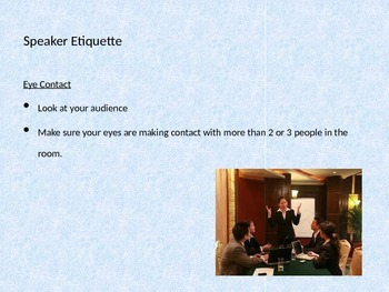 Speaker and Audience Etiquette Notes