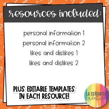 Speaking ¡A Hablar! Bundle 2 – Personal Info 1-2, Likes and Dislikes 1-2
