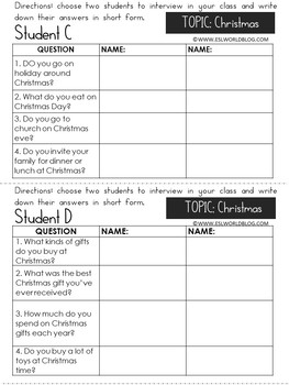 Speaking Activities ESL Surveys - Christmas