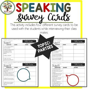 Speaking Activities ESL Surveys - Parties