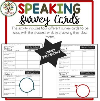 Speaking Activities ESL Surveys - Procedures